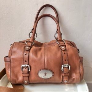Fossil Vintage Maddox Cognac Leather Satchel